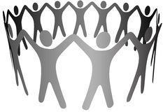 De Wapens van de Mensen van het Symbool van de groep omhoog in de Keten van de Ring van de Cirkel Stock Foto