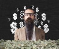 In de war gebrachte die mens in pakken dollars wordt begraven Stock Afbeeldingen