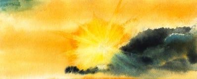De warme document het landschap van de textuurwaterverf het Plaatsen zon glanst helder verlichtende hemel, splijten de gouden str royalty-vrije stock afbeelding
