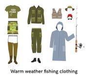 De warme weer vectorreeks van visserijkleren vlak Stock Foto's