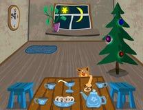 De warmte en het comfort van uw huis bij Kerstmis en Nieuwjaar Stock Afbeelding
