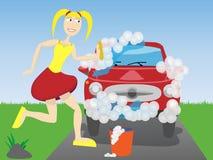 De wasauto van de vrouw   Stock Afbeeldingen