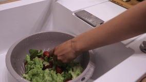 De wasgroenten onder de kraanraad met een mes sluiten omhoog, tomaten en komkommers stock videobeelden