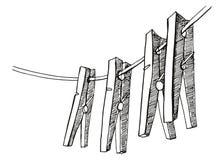 De wasknijpers hangen op de kabel De vectortekening van de illustratiehand stock illustratie