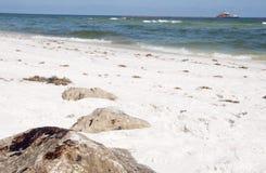 De wassen van de olie aan wal op strand Stock Afbeeldingen