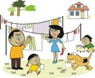 De wasserijbeeldverhaal van de familie Stock Foto's