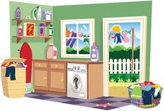 De wasserijruimte van de wasdag Stock Afbeeldingen