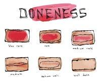 De Watercolourplakken van Rundvleeslapje vlees, Vleesdoneness Grafiek kookten verschillend Stukken van Rundvlees, BBQ Partij, Ste royalty-vrije illustratie