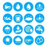 De waterdaling geeft inzameling gestalte Drie kleurenpictogrammen op kartonmarkeringen Stock Fotografie