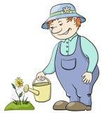 De wateren van de tuinman een bloem Stock Foto