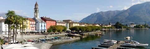 De waterkant van Ascona op Zwitserland Stock Foto