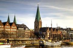 De waterkant van Bremen, Duitsland Stock Afbeeldingen
