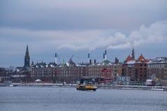 De waterkant van Kopenhagen tijdens de winter, Denemarken Royalty-vrije Stock Afbeelding