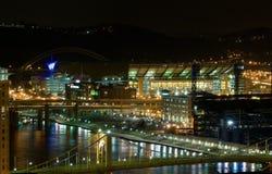 De waterkant van Pittsburgh bij nacht Royalty-vrije Stock Foto