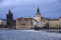 De waterkant van Praag Royalty-vrije Stock Foto's