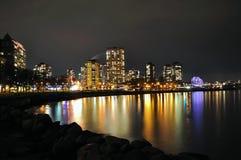 De Waterkant van Vancouver bij Nacht stock foto