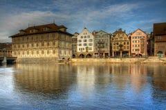 De waterkant van Zürich, HDR, Zwitserland Stock Foto