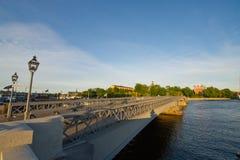De waterkantstad Stockholm van de avond Stock Foto