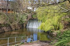 De waterkering op de rivier Sid in Sidmouth, Devon op het parklandgebied als Byes wordt bekend die stock afbeelding