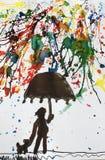 De waterkleur schilderde een jonge jongen met zijn hond die in de regen in kleuren lopen en een paraplu houden stock afbeelding