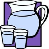 De waterkruikkruik en glazen van het water Stock Fotografie