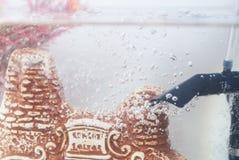 De waterlijn in het aquarium, stock afbeeldingen