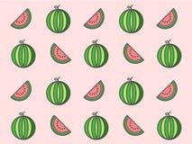 De watermeloen herhaalt patroon op roze achtergrond Stock Foto's