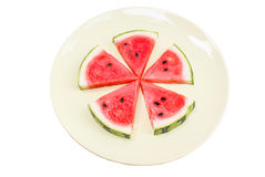 De watermeloen isoleert witte achtergrond met het knippen van weg Royalty-vrije Stock Foto