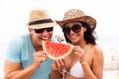 De watermeloen van de paarplak Stock Afbeelding