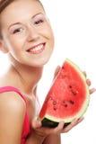 De watermeloen van de vrouwenholding klaar om een beet te nemen Royalty-vrije Stock Afbeeldingen