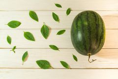 De watermeloen wordt geplaatst op de lijst royalty-vrije stock foto