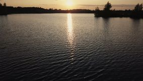 De waterspiegelrivier van de hommelmening De zon van de bezinningsavond in waterrivier bij zonsondergang stock video