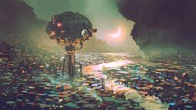 De watertoren voor de dystopian wereld royalty-vrije illustratie