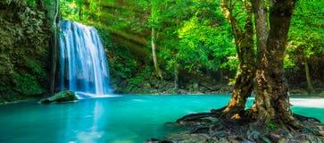 De waterval bij diep tropisch regenwoud Royalty-vrije Stock Foto's