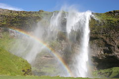 De waterval en de regenboog van IJsland Stock Fotografie