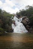 De waterval Goias Brazilië van Santa Maria van Cachoeira Royalty-vrije Stock Foto