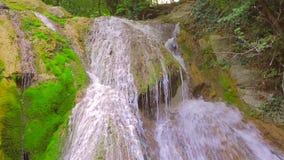 De waterval in het bos, stromen van water stroomt onderaan bemoste rotsen en rotsen stock videobeelden