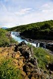De Waterval van Barnafoss in IJsland Stock Afbeelding