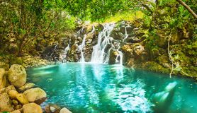 De waterval van cascadevacoas mauritius Panorama royalty-vrije stock fotografie