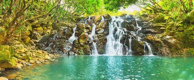 De waterval van cascadevacoas mauritius Panorama stock fotografie