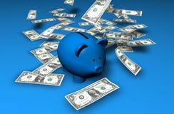 De Waterval van de Besparingen van Piggybank Stock Afbeeldingen