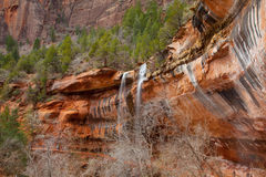 De Waterval van de Emeralpool in Zion National Park Stock Fotografie