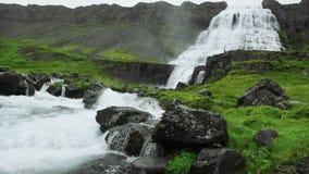 De waterval van Dynjandi in IJsland stock videobeelden