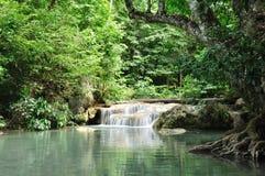 De Waterval van Eravan, Kanchanabury, Thailand stock afbeelding