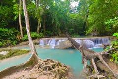 De Waterval van Erawan, Kanchanaburi, Thailand Stock Fotografie