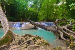 De Waterval van Erawan, Kanchanaburi, Thailand Royalty-vrije Stock Foto