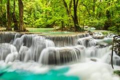 De Waterval van Erawan in Provincie Kanchanaburi stock afbeeldingen