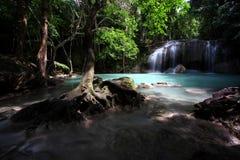 De waterval van Erawan, Westelijk Thailand Royalty-vrije Stock Foto's