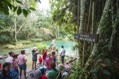 De waterval van Gr Nicho, in de Siërra del Escambray bergen niet van Cienfuegos verre wordt gevestigd die stock afbeeldingen