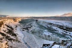 De waterval van Gullfoss in de Winter Stock Afbeelding